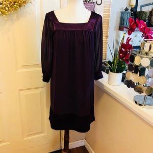 Needle & Thread Eggplant Color Satin Trim Dress